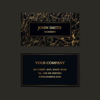 Black marble textured business card template