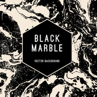 Черный мрамор векторный фон с баннером в форме шестиугольника. роскошный стиль современный вектор баннер.