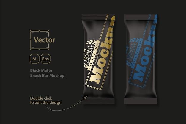 Black matte snack bar mockup