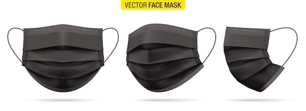 正面図、4分の3、側面図の黒い医療用フェイスマスク。コロナウイルス保護マスクセット