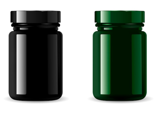 Black medicine bottle mockup. cosmetic packaging