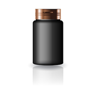 Black medicine round bottle with copper cap lid for beauty or healthy product.