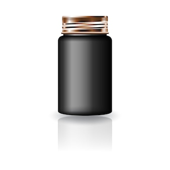 Black medicine round bottle with copper screw cap lid for beauty or healthy product. isolated on white background with reflection shadow. ready to use for package design.  illustration.