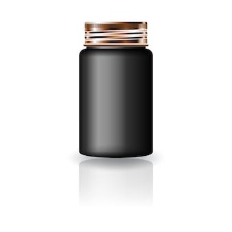 미용 또는 건강 제품을위한 구리 스크류 캡 뚜껑이있는 검은 색 약 둥근 병. 반사 그림자와 흰색 배경에 고립. 패키지 디자인에 사용할 준비가되었습니다. 삽화.