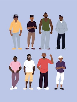 Black men cartoons with urban style, diversity people multiethnic race and multicultural theme illustration