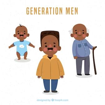 異なる年齢の黒人男性コレクション