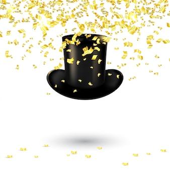 Черная мужская шляпа цилиндр с золотым конфетти и серпантином. векторная иллюстрация