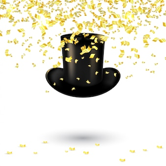Black men hat cylinder with gold confetti and serpentine. vector illustration