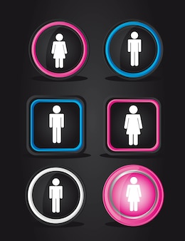 Black men and women signs over black background vector