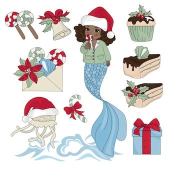 Black mermaid new year color vector illustration