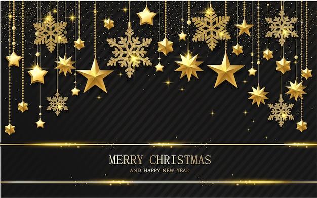 Черная поздравительная открытка с рождеством и новым годом с золотыми блестящими звездами и снежинками