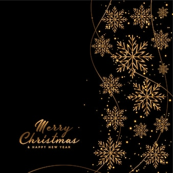 Black merry christmas card with golden snowflakes