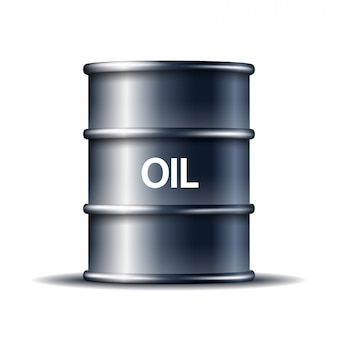 Black metal oil barrel with word oil  on white