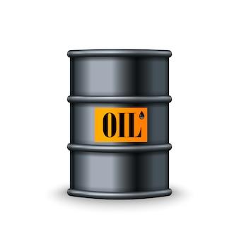 Black metal oil barrel