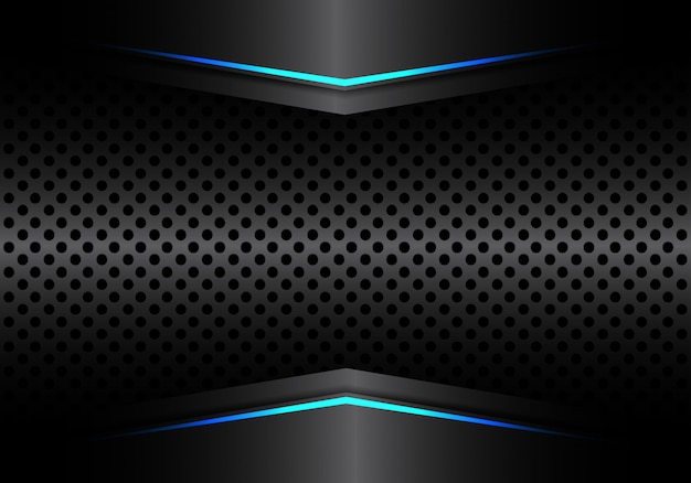 파란색 화살표 빛을 배경으로 검은 금속 원형 메쉬 프리미엄 벡터