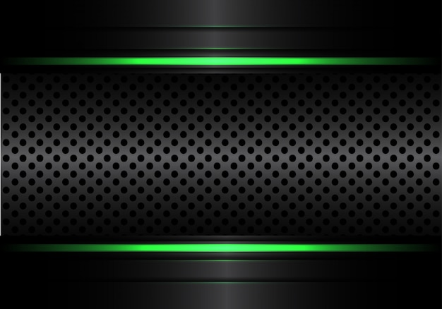 Black metallic circle mesh with green line light background