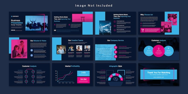 Шаблон презентации бизнес-слайдов black minimal