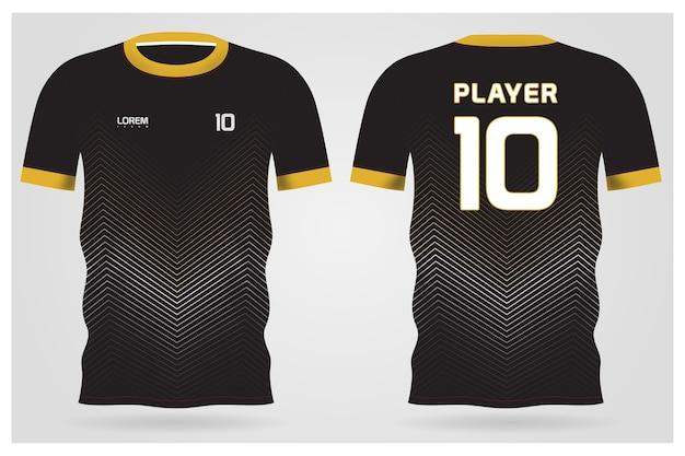 Черная минималистичная форма для футбольного клуба, футболка, вид спереди и сзади