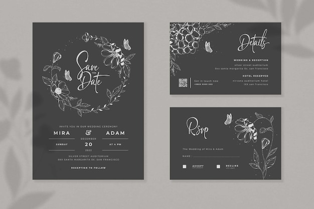 Black minimalist wedding invitation set