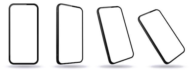 Черный мобильный телефон с перспективным видом. экраны смартфонов