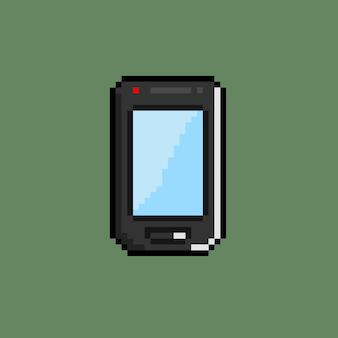 Черный мобильный телефон в стиле пиксель-арт