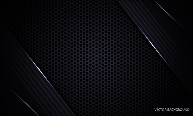 Black modern abstract background with hexagon carbon fiber grid and light lines.