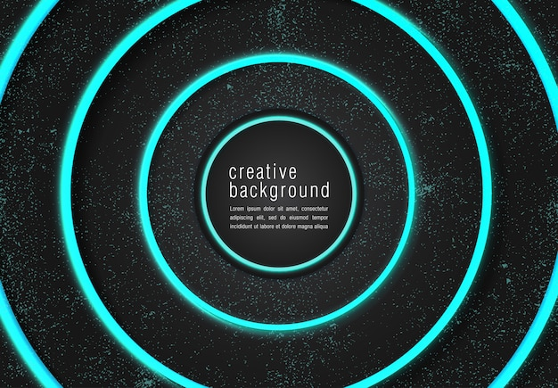 Black modern background with neon glow turquoise color