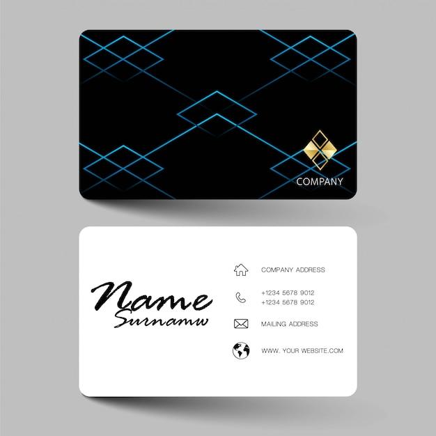 Black modern business card template design.