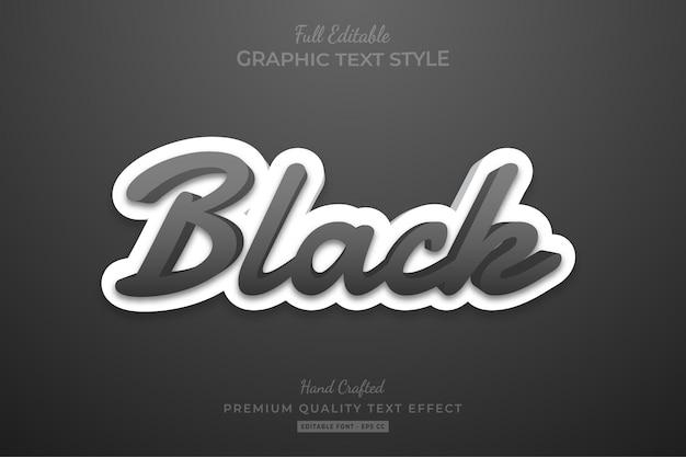 Black modern editable text effect font style
