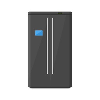 Black modern household appliances fridge with two doors isolated on white