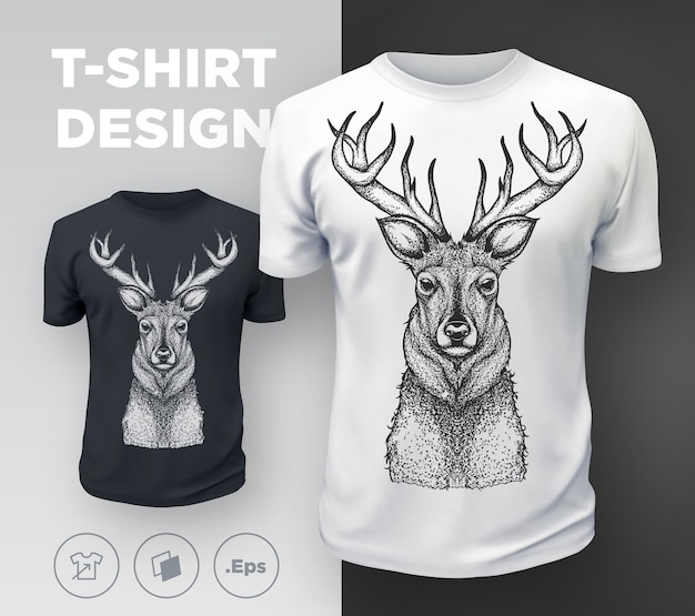 Black modern t-shirt print design with deer.