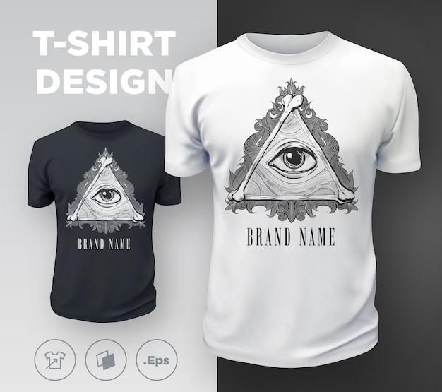 Черная современная футболка с принтом «всевидящее око». .