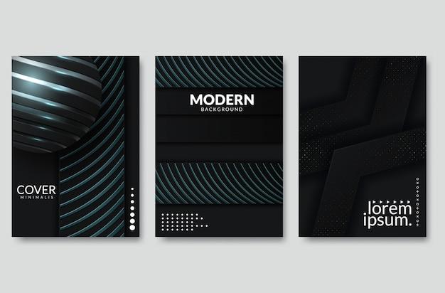 검은 현대 벡터 배경 텍스트 및 메시지 웹 사이트 디자인을위한 멀티 종이 조명 광장 겹침