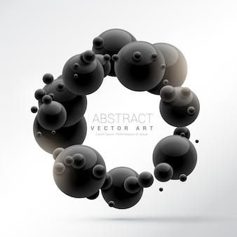 黒い分子フレームの背景に3d