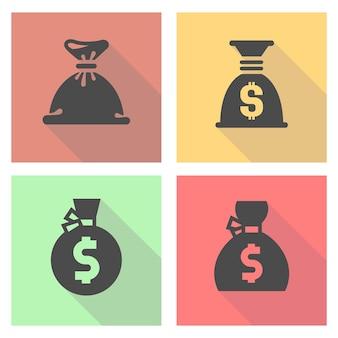 컬러 사각형에 설정된 검은 돈 가방