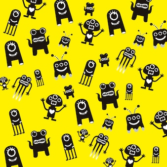 Black monsters over yellow background