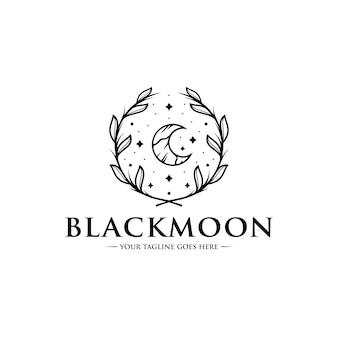 Шаблон логотипа черная луна