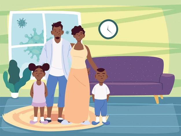Черная мать, отец, дочь и сын, мультфильмы в векторной домашней комнате