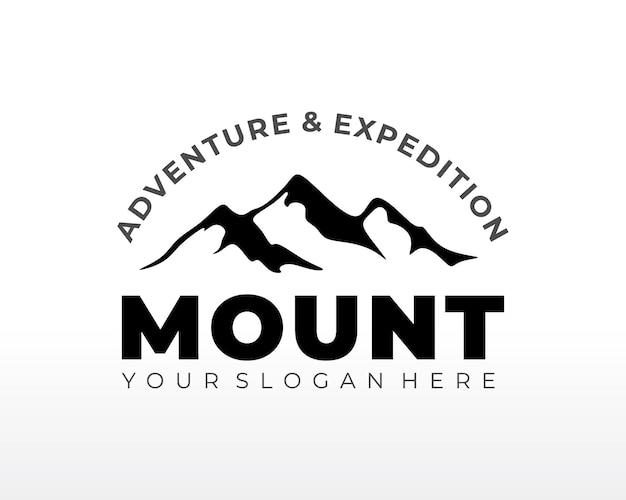 Логотип черная гора. гора дизайн логотипа вектор силуэт иллюстрации