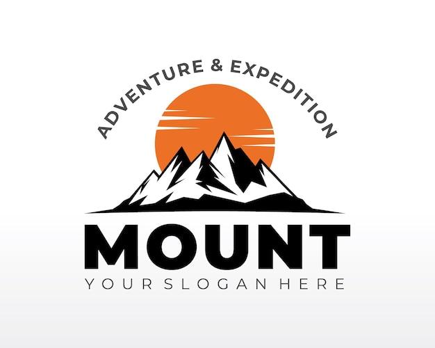 Black mountain logo. mountain logo design vector silhouette illustration