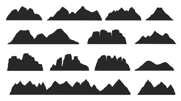 Black mountain ridge landscape silhouette, rocky terrain elements. mountains peaks, hills, icebergs outdoor landscape silhouettes vector set. nature cliffs and volcano shape for logo
