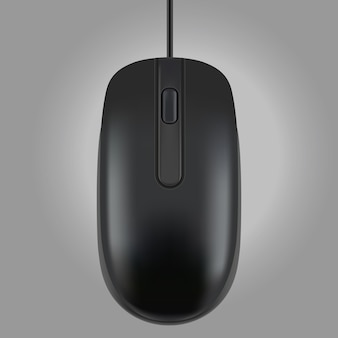 Черная мышь, изолированные на сером фоне, векторная иллюстрация