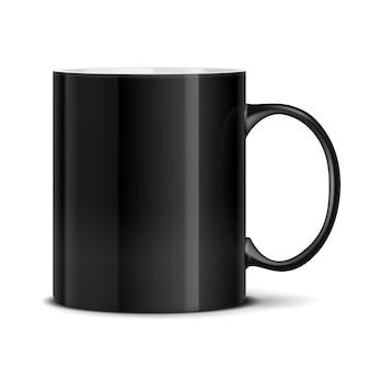 分離された黒いマグカップ