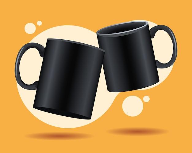 Black mugs ceramic mockups icons vector illustration design