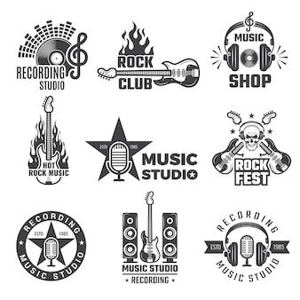 Black music labels. vintage vinyl cover record microphone and headphones  symbols for music logotypes or badges records company