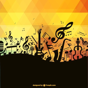 Black music notes and instruments and polygonal background