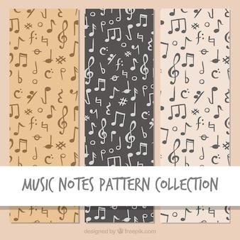 Black music notes pattern background
