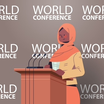 Black muslim female doctor giving speech at tribune with microphone medical world conference medicine healthcare concept portrait  illustration