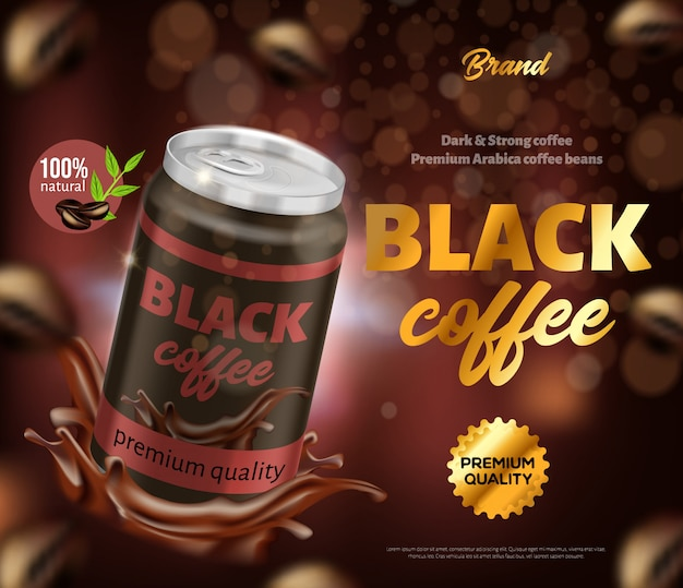 Black natural premium quality coffee ad banner