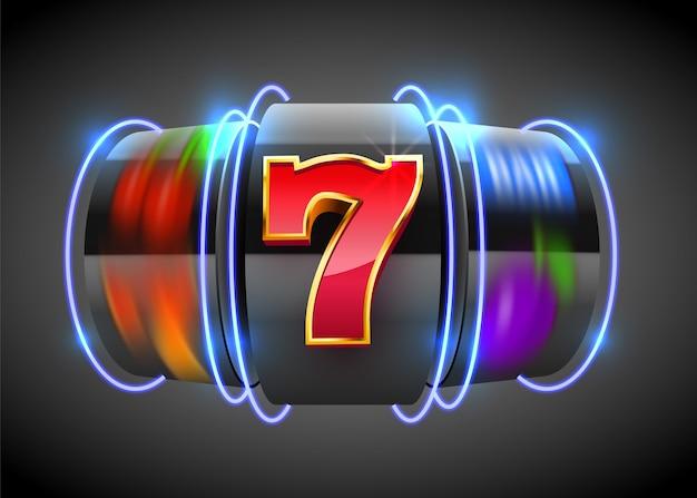 Black neon slot machine coins wins the jackpot. big win casino concept.